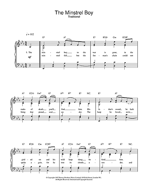 Traditional The Minstrel Boy sheet music notes and chords. Download Printable PDF.