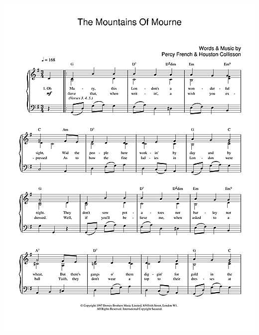 Percy French The Mountains Of Mourne sheet music notes and chords. Download Printable PDF.