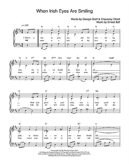 Ernest Ball When Irish Eyes Are Smiling sheet music notes and chords. Download Printable PDF.
