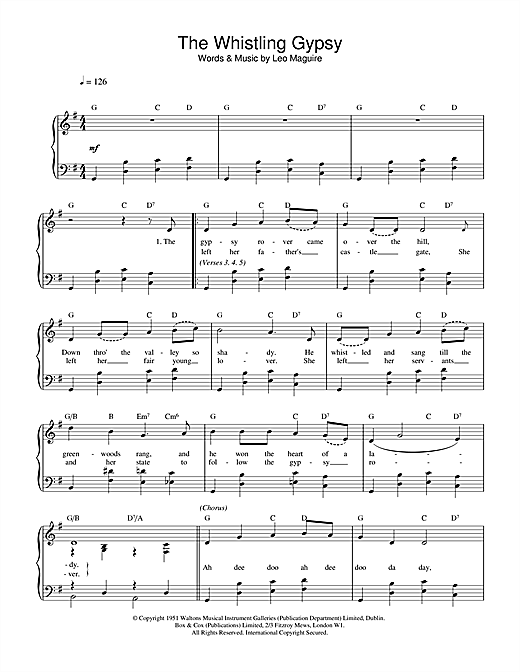 Leo Maguire Whistling Gypsy sheet music notes and chords. Download Printable PDF.