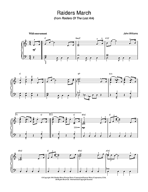 John Williams Raiders March (from Raiders Of The Lost Ark) sheet music notes and chords. Download Printable PDF.