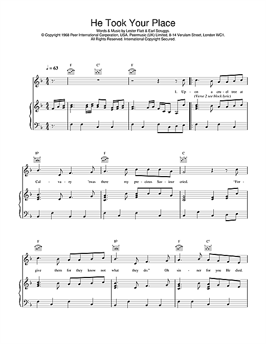 Daniel O'Donnell He Took Your Place sheet music notes and chords. Download Printable PDF.