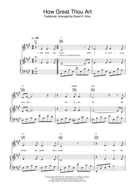 Daniel O'Donnell How Great Thou Art sheet music notes and chords. Download Printable PDF.