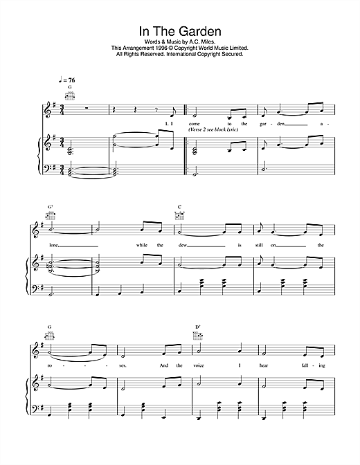 Daniel O'Donnell In The Garden sheet music notes and chords. Download Printable PDF.