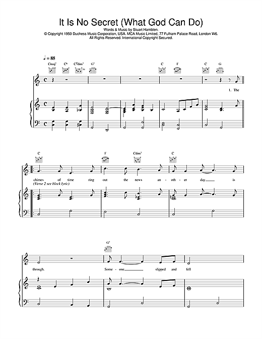 Daniel O'Donnell It Is No Secret (What God Can Do) sheet music notes and chords. Download Printable PDF.