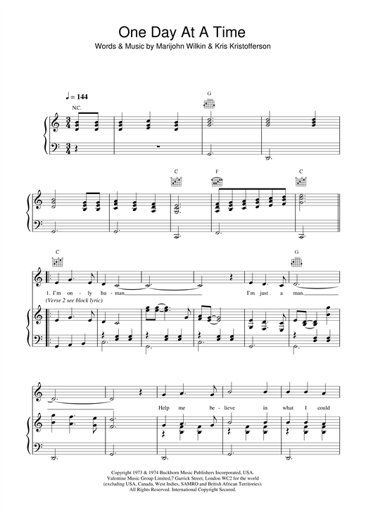 Daniel O'Donnell One Day At A Time sheet music notes and chords. Download Printable PDF.