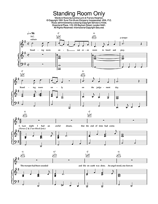 Daniel O'Donnell Standing Room Only sheet music notes and chords. Download Printable PDF.