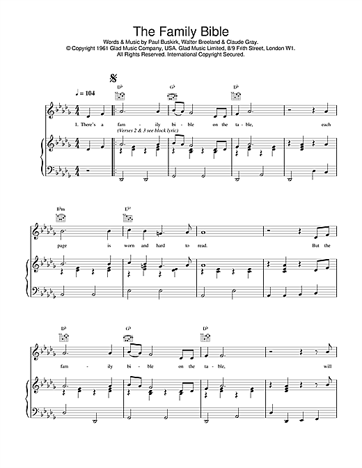 Daniel O'Donnell The Family Bible sheet music notes and chords. Download Printable PDF.