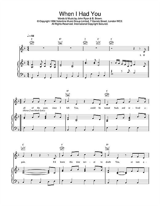 Daniel O'Donnell When I Had You sheet music notes and chords. Download Printable PDF.