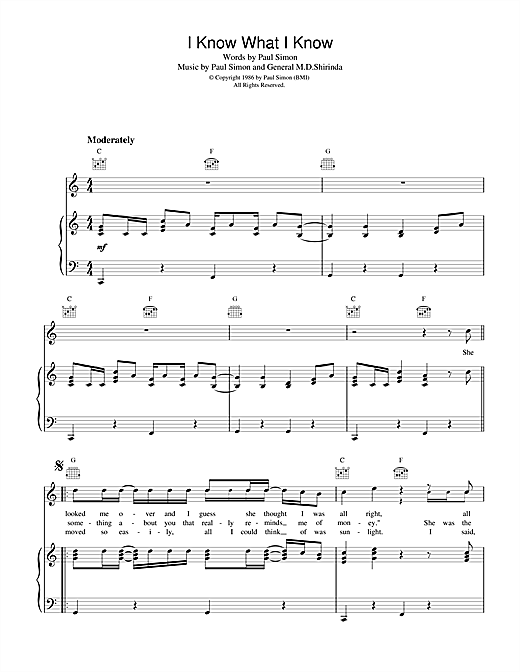 Paul Simon I Know What I Know sheet music notes and chords. Download Printable PDF.