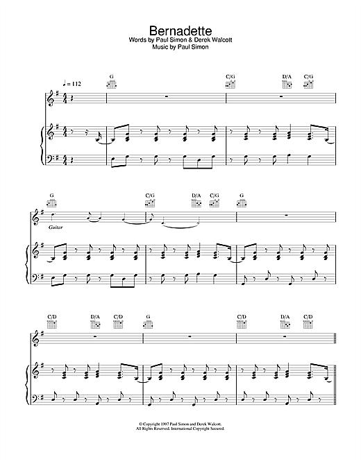 Paul Simon Bernadette sheet music notes and chords. Download Printable PDF.