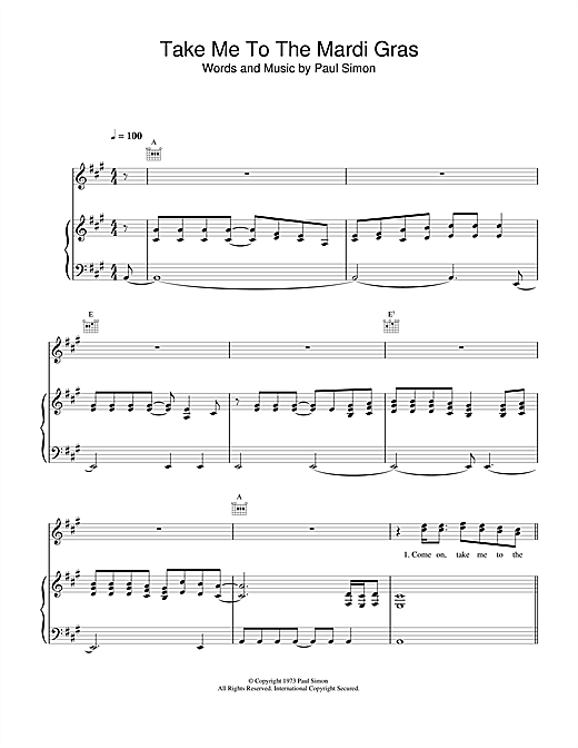 Paul Simon Take Me To The Mardi Gras sheet music notes and chords. Download Printable PDF.