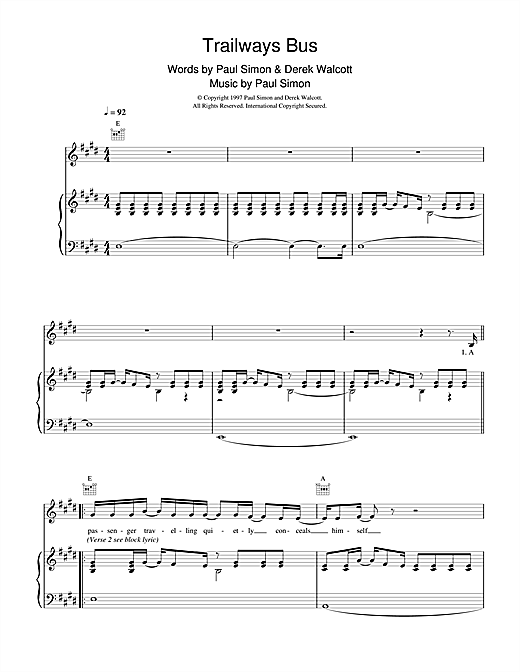 Paul Simon Trailways Bus sheet music notes and chords. Download Printable PDF.