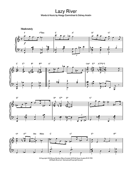 Harry James Lazy River sheet music notes and chords. Download Printable PDF.