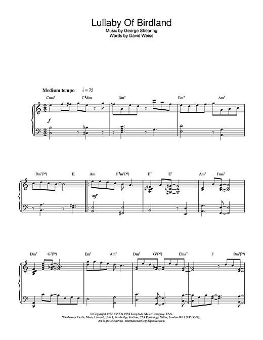 Benny Golson Lullaby Of Birdland sheet music notes and chords. Download Printable PDF.