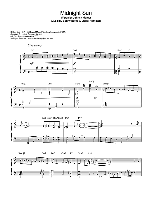Horace Silver Midnight Sun sheet music notes and chords. Download Printable PDF.