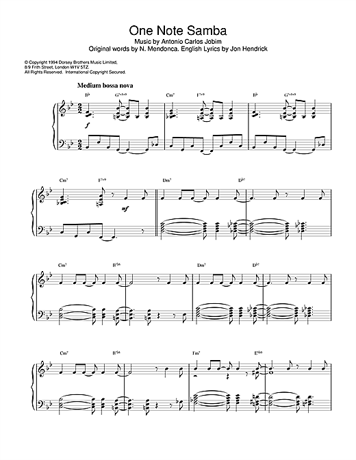 Newton Mendonca One Note Samba sheet music notes and chords. Download Printable PDF.