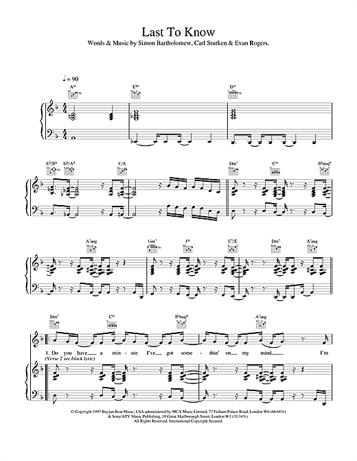 The Brand New Heavies Last To Know sheet music notes and chords. Download Printable PDF.