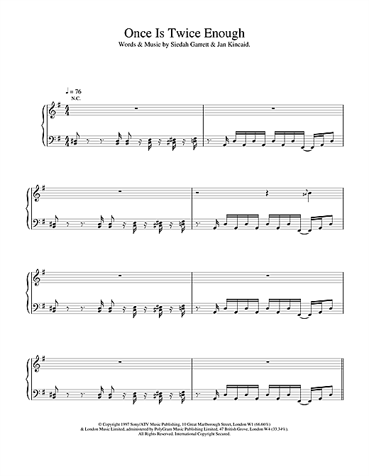 The Brand New Heavies Once Is Twice Enough sheet music notes and chords. Download Printable PDF.