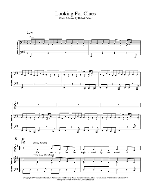 Robert Palmer Looking For Clues sheet music notes and chords. Download Printable PDF.