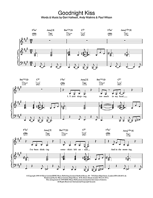 Geri Halliwell Goodnight Kiss sheet music notes and chords. Download Printable PDF.