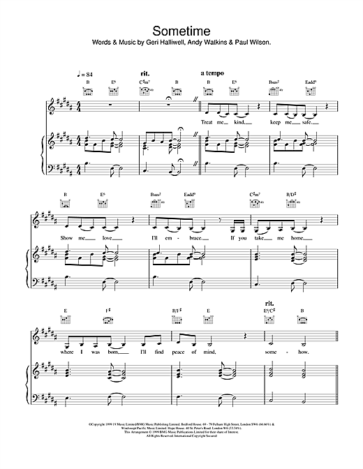 Geri Halliwell Sometime sheet music notes and chords. Download Printable PDF.