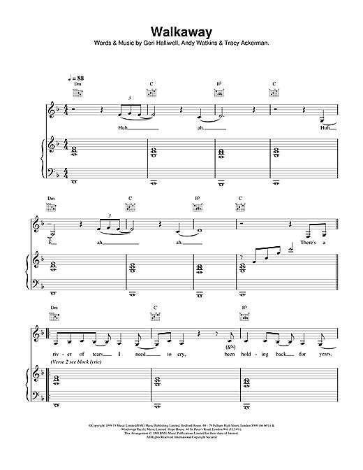 Geri Halliwell Walkaway sheet music notes and chords. Download Printable PDF.