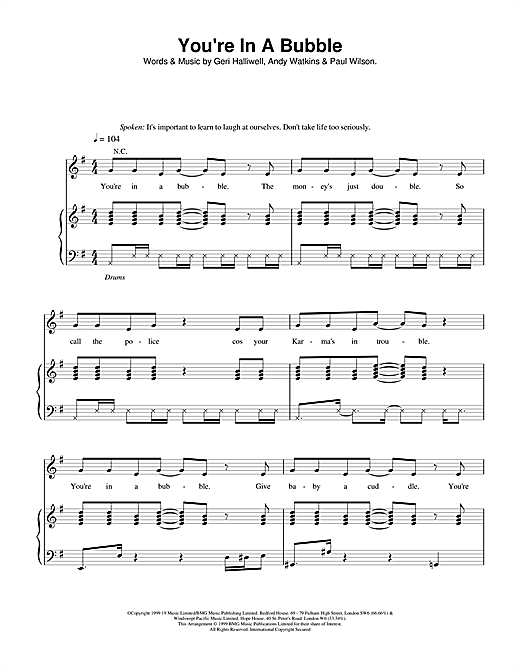 Geri Halliwell You're In A Bubble sheet music notes and chords. Download Printable PDF.