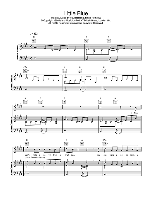 The Beautiful South Little Blue sheet music notes and chords. Download Printable PDF.