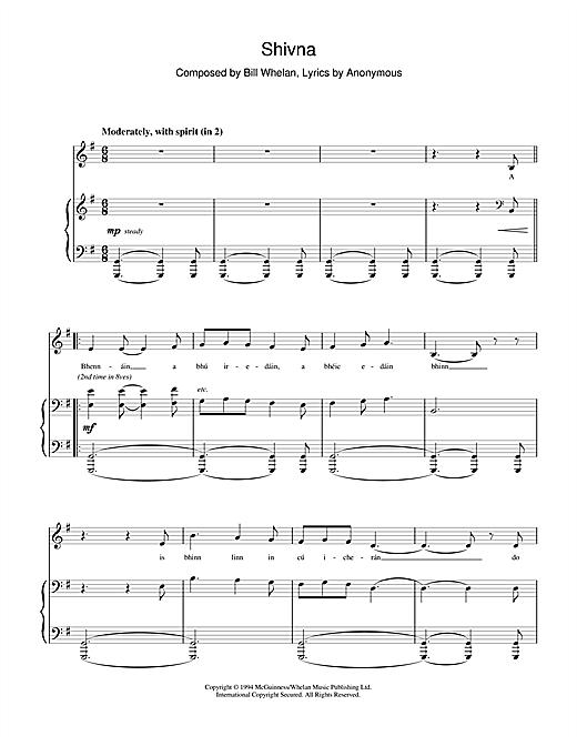 Bill Whelan Shivna (from Riverdance) sheet music notes and chords. Download Printable PDF.