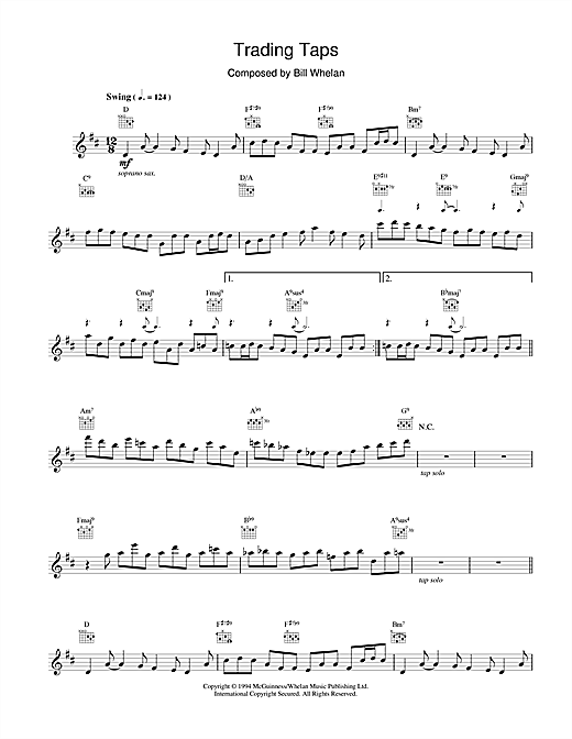 Bill Whelan Trading Taps (from Riverdance) sheet music notes and chords. Download Printable PDF.