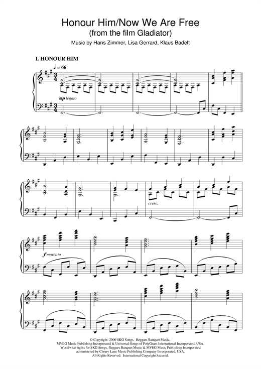 Hans Zimmer Honour Him/Now We Are Free (from Gladiator) sheet music notes and chords. Download Printable PDF.