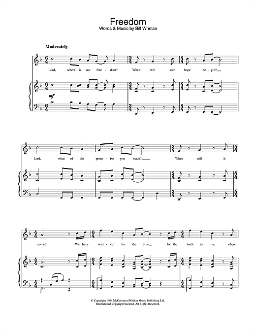 Bill Whelan Freedom (from Riverdance) sheet music notes and chords. Download Printable PDF.