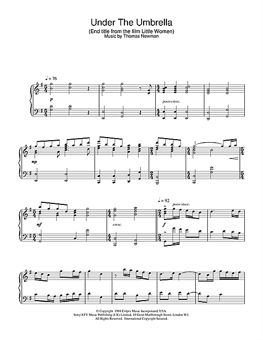 Thomas Newman Under The Umbrella (End Title from Little Women) sheet music notes and chords. Download Printable PDF.
