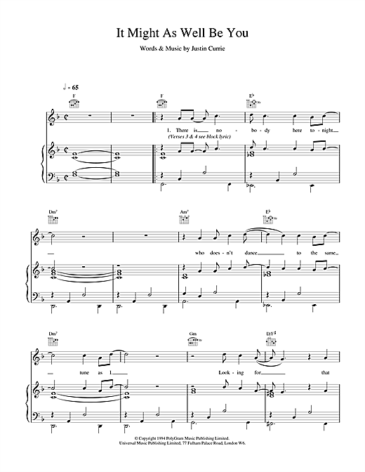 Del Amitri It Might As Well Be You sheet music notes and chords. Download Printable PDF.