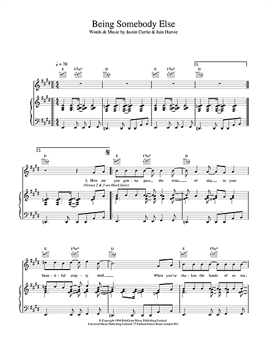 Del Amitri Being Somebody Else sheet music notes and chords. Download Printable PDF.