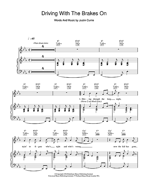 Del Amitri Driving With The Brakes On sheet music notes and chords. Download Printable PDF.