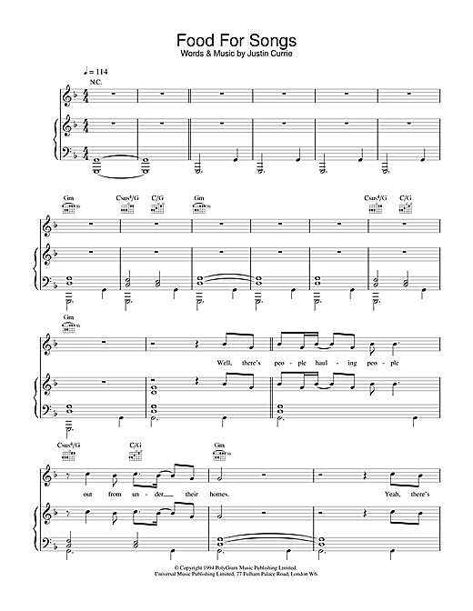 Del Amitri Food For Songs sheet music notes and chords. Download Printable PDF.