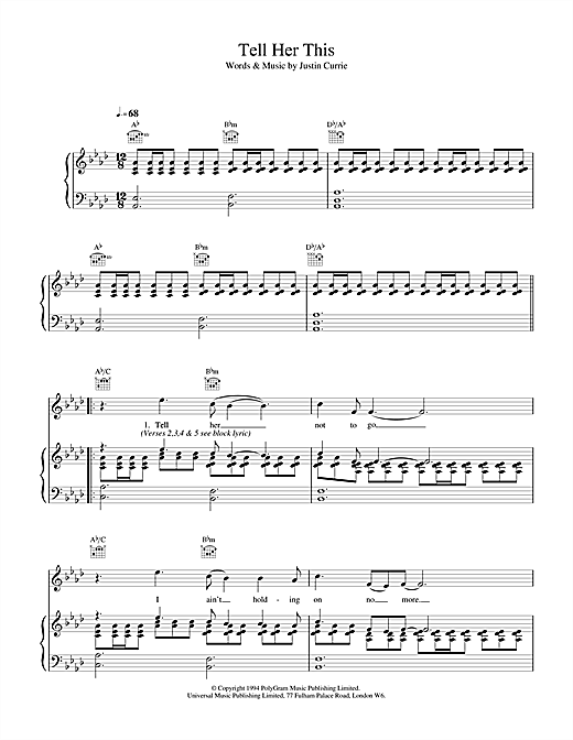 Del Amitri Tell Her This sheet music notes and chords. Download Printable PDF.