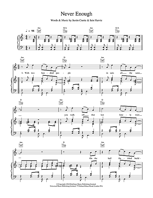 Del Amitri Never Enough sheet music notes and chords. Download Printable PDF.