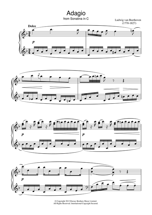 Ludwig van Beethoven Adagio Sonatina In C sheet music notes and chords. Download Printable PDF.