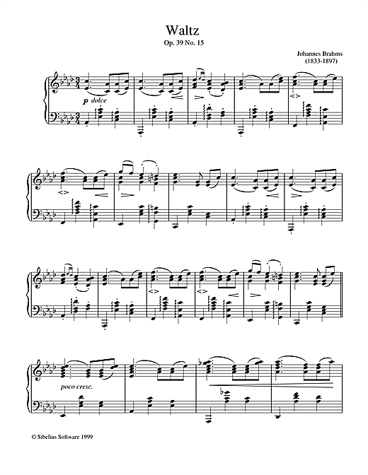 Johannes Brahms Waltz Op.39 No.15 sheet music notes and chords. Download Printable PDF.