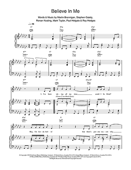 Boyzone Believe In Me sheet music notes and chords. Download Printable PDF.