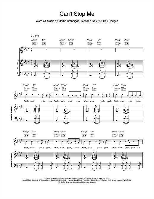 Boyzone Cant Stop Me sheet music notes and chords. Download Printable PDF.