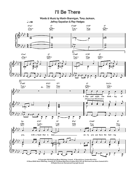 Boyzone I'll Be There sheet music notes and chords. Download Printable PDF.