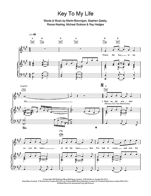Boyzone Key To My Life sheet music notes and chords. Download Printable PDF.