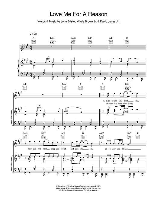 Boyzone Love Me For A Reason sheet music notes and chords. Download Printable PDF.
