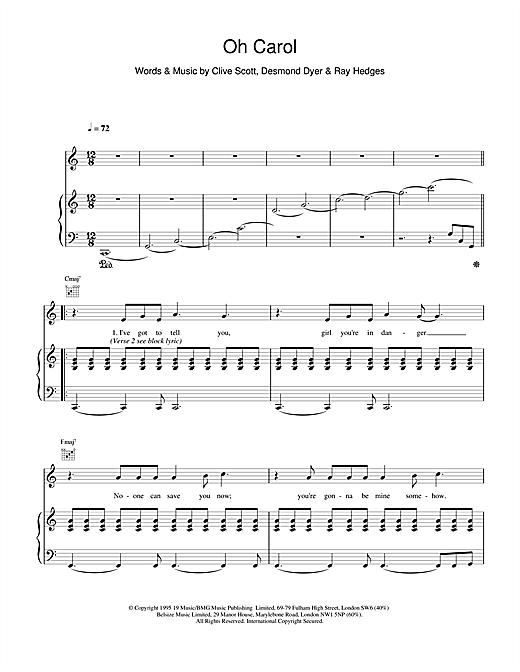 Boyzone Oh Carol sheet music notes and chords. Download Printable PDF.