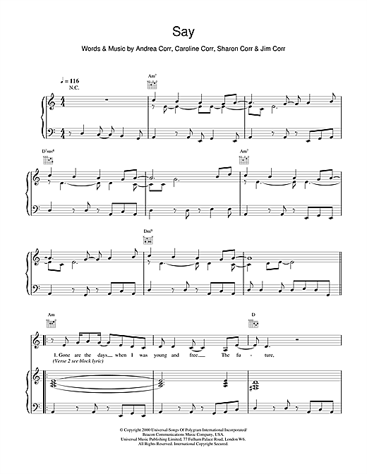 The Corrs Say sheet music notes and chords. Download Printable PDF.
