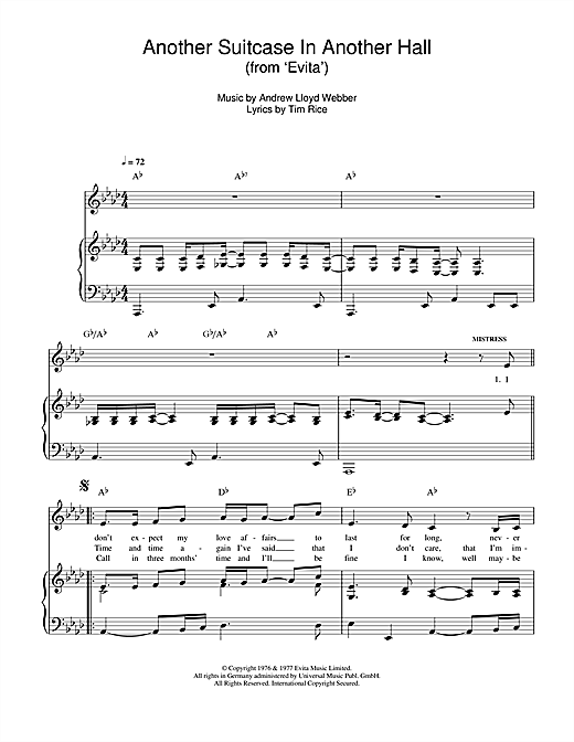 Andrew Lloyd Webber Another Suitcase In Another Hall (from Evita) sheet music notes and chords. Download Printable PDF.